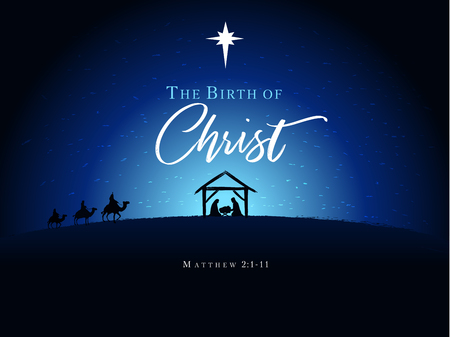 Ilustración de Jesus and Jesus in the manger The Nativity of Christ, vector banner or poster - Imagen libre de derechos