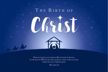 Ilustración de Merry Christmas, birth of Christ banner. Jesus in the manger with the star and the bible text. Vector illustration - Imagen libre de derechos