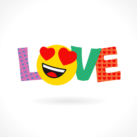 LOVE word congrats. Smiling face. Bright dynamic inscription, colored letters LVE in pop art style. Isolated abstract multicolored graphic design template. LOVE smiley icon.