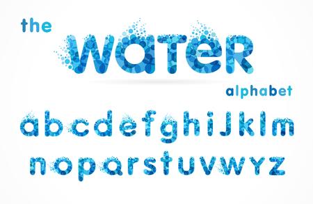 Ilustración de Water drops font, funny blue alphabet, letters and waves. Mineral natural water vector abc icon design - Imagen libre de derechos
