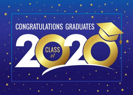 Illustration pour Graduating class of 2020 vector illustration. Class of 20 20 congratulations design graphics for decoration with golden colored for design cards, invitations or banner - image libre de droit