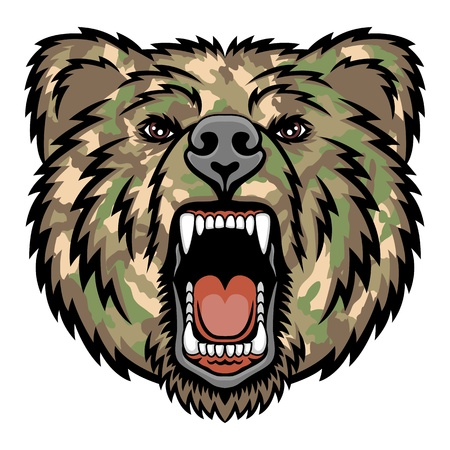 Illustration pour A Bear head logo   Military style  This is illustration ideal for a mascot and tattoo or T-shirt graphic  - image libre de droit