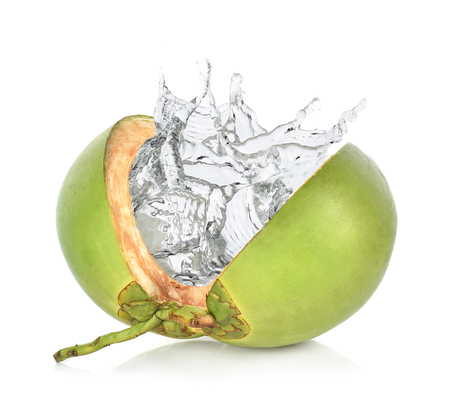 Photo for Green coconut with water splash isolated on white background. - Royalty Free Image