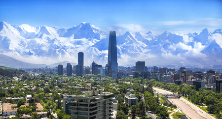 Photo pour Santiago white cityscape - image libre de droit