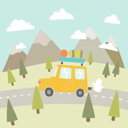 Ilustración de Road trip. Mountain landscape. Vector EPS 10 hand drawn illustration - Imagen libre de derechos