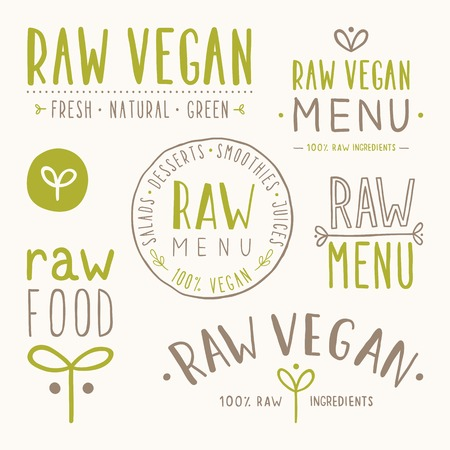 Illustration for Raw vegan badges. Vector EPS 10 hand drawn labels - Royalty Free Image