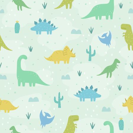 Foto für Cute funny cartoon dinosaurs. Vector seamless pattern - Lizenzfreies Bild