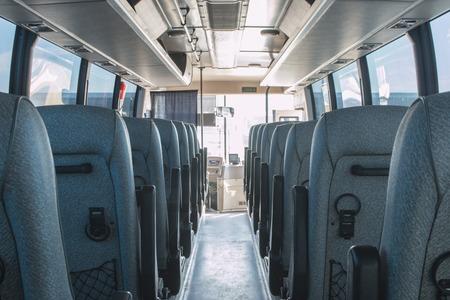 Photo pour passenger compartment of a big shuttle bus - image libre de droit