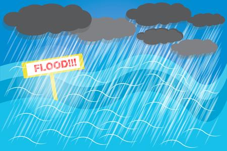Ilustración de Floods must be prepared because the water may be flooded with no shelter. vector - Imagen libre de derechos