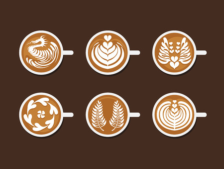 Illustration for Set of Latte Art White Cup - Royalty Free Image