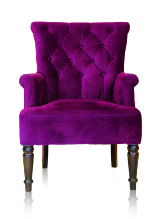 Foto de Old styled purple vintage armchair isolated on white background, clipping path. - Imagen libre de derechos