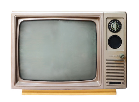 Foto de Vintage analog television isolated over white background - Imagen libre de derechos