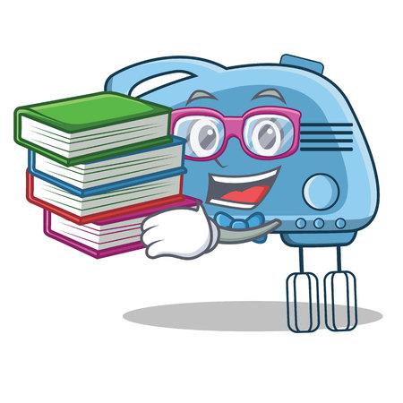 Illustration pour Student with book mixer character cartoon style - image libre de droit