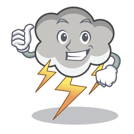 Illustration pour Thumbs up thunder cloud character cartoon vector illustration - image libre de droit