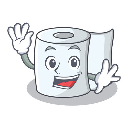 Illustration for Waving tissue character cartoon style - Royalty Free Image