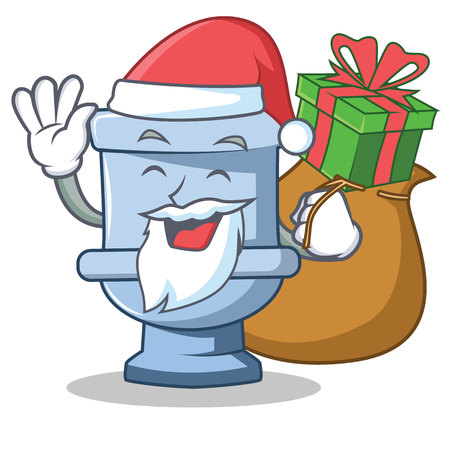 Illustration pour Santa with gift toilet character cartoon style - image libre de droit