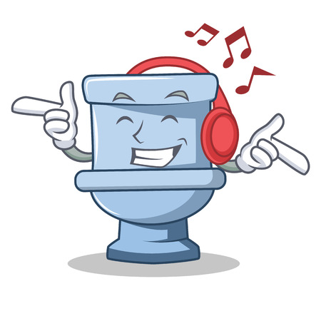 Illustration pour Listening music toilet character cartoon style - image libre de droit