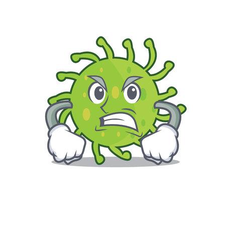 Illustrazione per Angry green bacteria mascot cartoon - Immagini Royalty Free