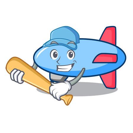 Illustration pour Playing baseball zeppelin character cartoon style - image libre de droit