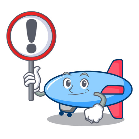 Illustration pour With sign zeppelin character cartoon style vector illustration - image libre de droit