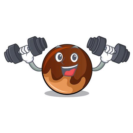 Illustration pour Fitness chocolate donut character cartoon vector illustration - image libre de droit