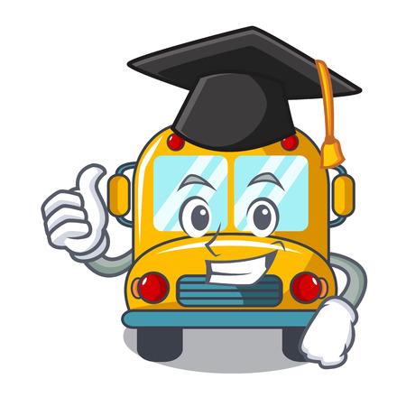 Illustration pour Graduation school bus character cartoon vector illustration - image libre de droit