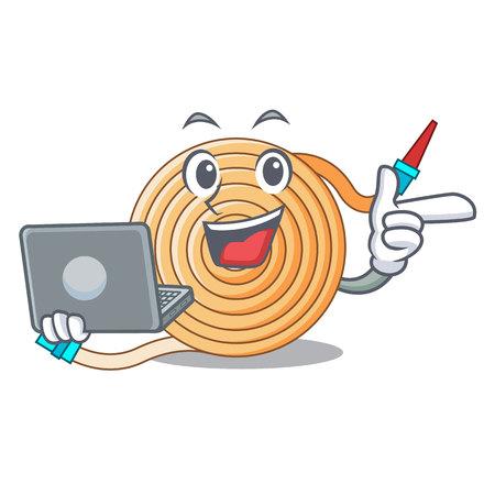 Illustration pour With laptop water hose character cartoon vector illustration - image libre de droit