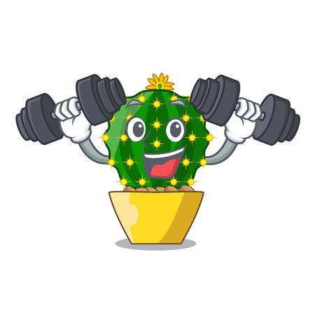 Fitness mammillaria cactus planted in a cartoon pot vector illustration