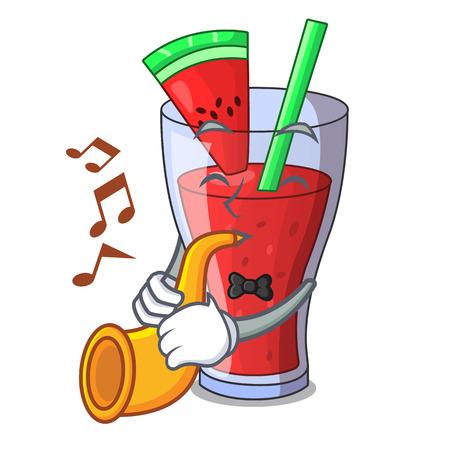 Ilustración de With trumpet watermelon juice with watermelon fruit cartoon vector illustration - Imagen libre de derechos