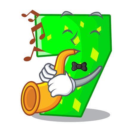 With trumpet cartoon number seven on stone wall vector illustration