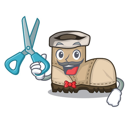 Ilustración de Barber working boots Isolated on the mascot vector illustration - Imagen libre de derechos