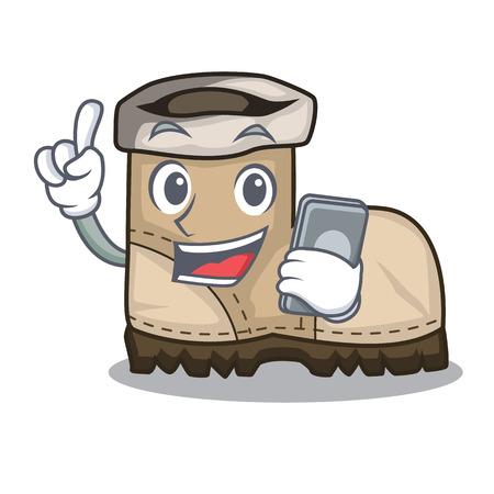 Ilustración de With phone working boots Isolated on the mascot vector illustration - Imagen libre de derechos