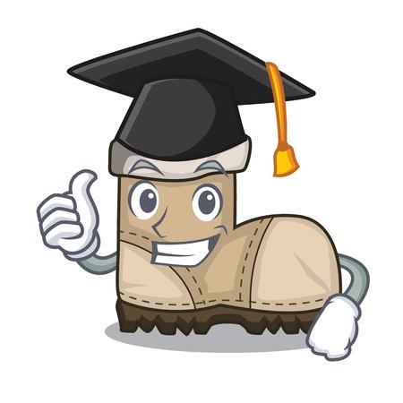 Ilustración de Graduation working boot in shape cartoon beautiful vector illustration - Imagen libre de derechos