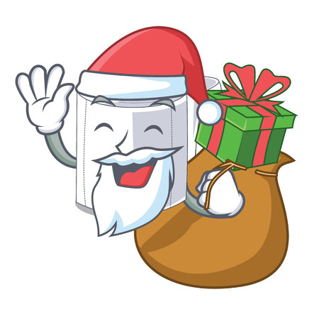 Illustration pour Santa with gift toilet paper isolated with the cartoons vector illustration - image libre de droit