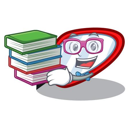 Illustration pour Student with book side mirror next the mascot table vector illustration - image libre de droit