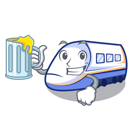 Illustration pour With juice shinkansen train isolated in the cartoon vector illustration - image libre de droit