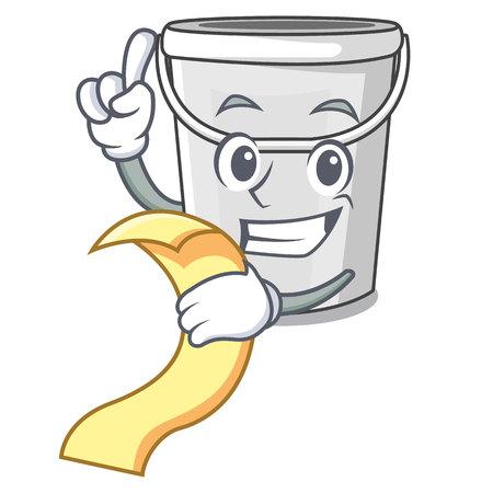 Illustration pour With menu cartoon plastic tube bucket bedside table vector illustration - image libre de droit