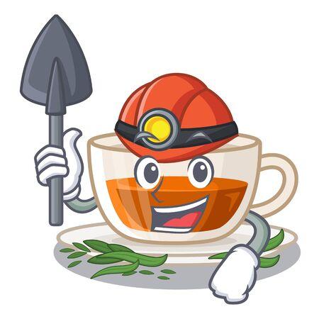 Ilustración de Miner darjeeling tea in the character bottle - Imagen libre de derechos