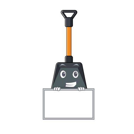 Illustration pour A cute picture of snow shovel grinning with board. Vector illustration - image libre de droit