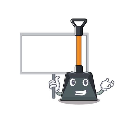 Illustration pour A cute picture of snow shovel cute cartoon character bring a board. Vector illustration - image libre de droit