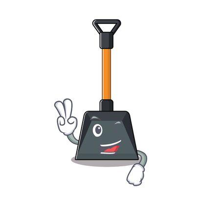 Illustration pour Smiley mascot of snow shovel cartoon Character with two fingers. Vector illustration - image libre de droit