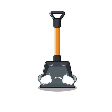 Illustration pour Sad of snow shovel cartoon mascot style. Vector illustration - image libre de droit