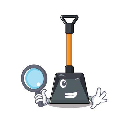 Illustration pour Cool and Smart snow shovel Detective cartoon mascot style. Vector illustration - image libre de droit