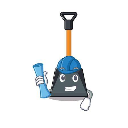 Illustration pour Elegant Architect snow shovel having blue prints and blue helmet. Vector illustration - image libre de droit