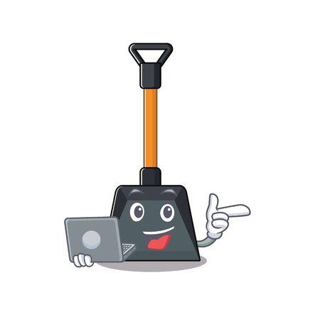 Illustration pour Smart character of snow shovel working with laptop. Vector illustration - image libre de droit