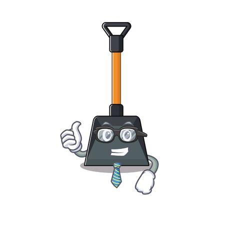 Illustration pour cartoon character of Businessman snow shovel wearing glasses. Vector illustration - image libre de droit