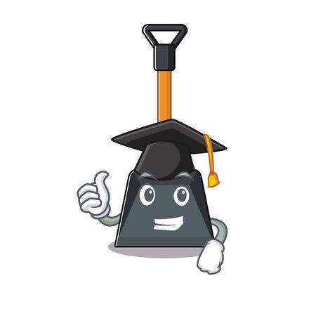 Illustration pour happy and proud of snow shovel wearing a black Graduation hat. Vector illustration - image libre de droit