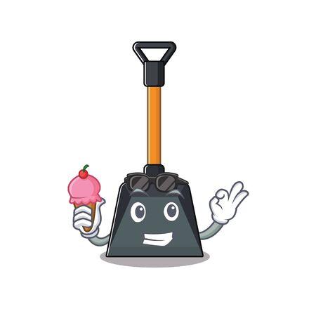 Illustration pour Snow shovel mascot cartoon design with ice cream. Vector illustration - image libre de droit
