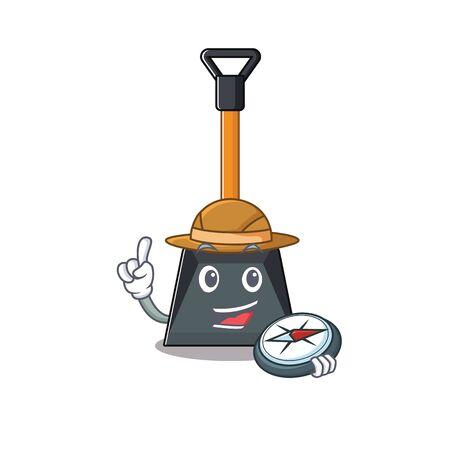 Illustration pour Snow shovel stylized Explorer having a compass. Vector illustration - image libre de droit