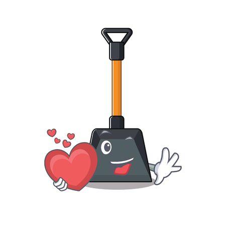 Illustration pour Funny Face snow shovel cartoon character holding a heart. Vector illustration - image libre de droit